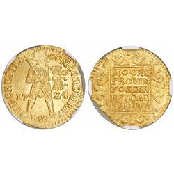 Utrecht, United Netherlands, gold ducat, 1724, encapsulated NGC MS 63.