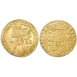 Utrecht, United Netherlands, gold ducat, 1729, encapsulated PCGS MS64.