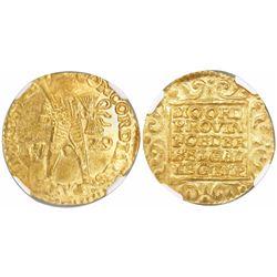 Utrecht, United Netherlands, gold ducat, 1729, encapsulated NGC MS 63 / Vliegenthart.