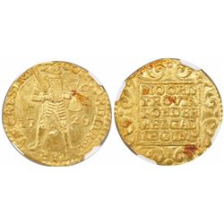 Utrecht, United Netherlands, gold ducat, 1729, encapsulated NGC MS 63 / Vliegenthart.