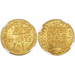 Utrecht, United Netherlands, gold ducat, 1729, encapsulated NGC MS 62.