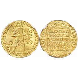 Utrecht, United Netherlands, gold ducat, 1729, encapsulated NGC MS 61.