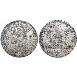 Mexico City, Mexico, pillar 8 reales, Philip V, 1739MF, encapsulated ANACS AU 50 / Hollandia shipwre