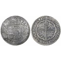 Seville, Spain, milled 8 reales, Philip V, 1733PA.