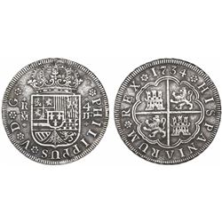 Madrid, Spain, milled 4 reales, Philip V, 1734JF.