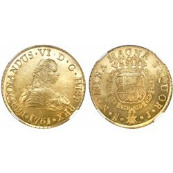 Santiago, Chile, gold bust 8 escudos, Ferdinand VI, 1751J, encapsulated NGC MS 63 / La Luz.