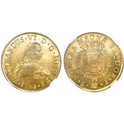 Santiago, Chile, gold bust 8 escudos, Ferdinand VI, 1751J, encapsulated NGC MS 63 / La Luz.