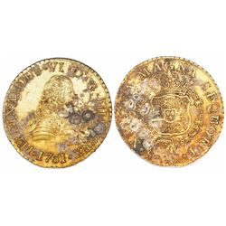 Santiago, Chile, gold bust 8 escudos, Ferdinand VI, 1751J, encrusted as found.
