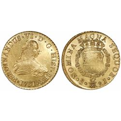Santiago, Chile, gold bust 8 escudos, Ferdinand VI, 1751J.