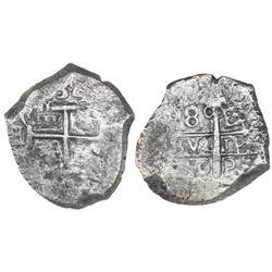 Potosi, Bolivia, cob 8 reales, 1750E/q.