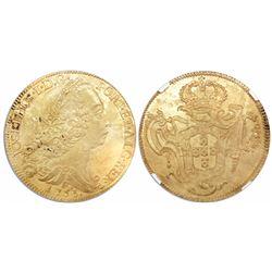 Brazil (Rio mint), 6400 reis, 1753-R, encapsulated NGC UNC details / saltwater damage / Clive of Ind