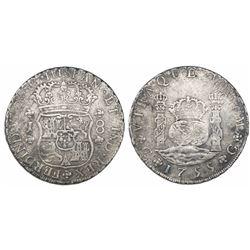 Guatemala, pillar 8 reales, Ferdinand VI, 1755J, small J.