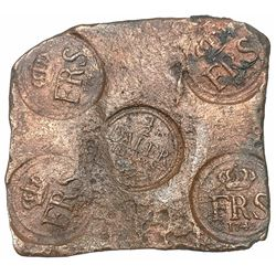 "Sweden (Avesta mint), copper 1/2 daler ""plate money,"" Fredrik I, 1742."