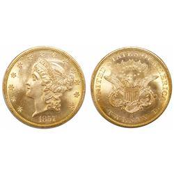 USA (San Francisco mint), $20 Coronet Liberty, 1857-S, 20A Spiked Shield variety, encapsulated PCGS