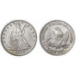 USA (New Orleans mint), half dollar seated Liberty, 1858-O, encapsulated NGC SS Republic Shipwreck E
