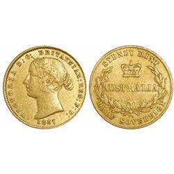 Sydney, Australia, gold half sovereign, 1857.