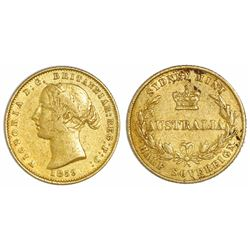 Sydney, Australia, gold half sovereign, 1859.