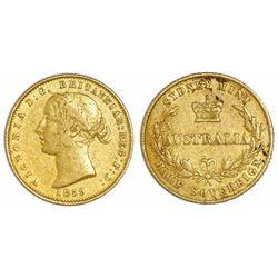 Sydney, Australia, gold half sovereign, 1859.