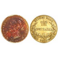 Sydney, Australia, gold half sovereign, 1861.