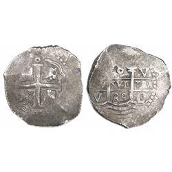Lima, Peru, cob 8 reales, 1689V.