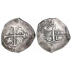 Lima, Peru, cob 8 reales, 1694M.