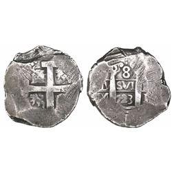 Lima, Peru, cob 8 reales, 1723M, rare.