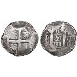 Lima, Peru, cob 8 reales, 1731N.
