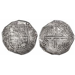 Potosi, Bolivia, cob 8 reales, 1617M, date at 7 o'clock, tiny mintmark, rare.