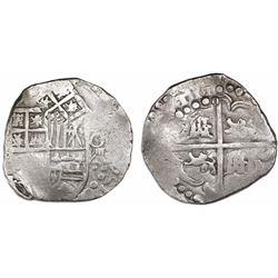 Potosi, Bolivia, cob 8 reales, (16)ZIII (1623), assayer P(?), rare.