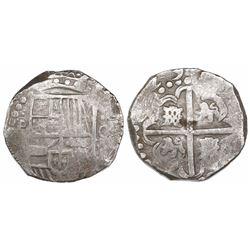 Potosi, Bolivia, cob 8 reales, (16)29, assayer not visible, large-dot borders.
