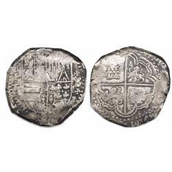 Potosi, Bolivia, cob 8 reales, Philip IV, assayer T, St. Andrews-cross ornaments around denomination