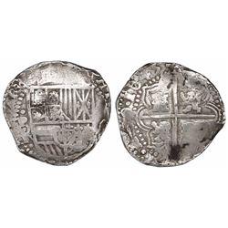 Potosi, Bolivia, cob 8 reales, 1645T/TR, very rare.