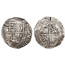 Potosi, Bolivia, cob 8 reales, (16)45, assayer not visible.