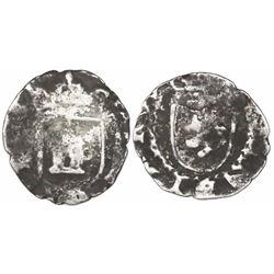 Potosi, Bolivia, cob 1/4 real, Philip II, assayer not visible (5th-period B), borders of x's, rare.