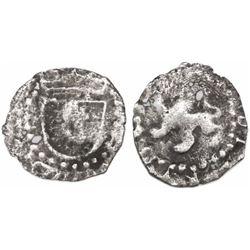 Potosi, Bolivia, cob 1/4 real, Philip III, no assayer or mintmark, large lion, rare.