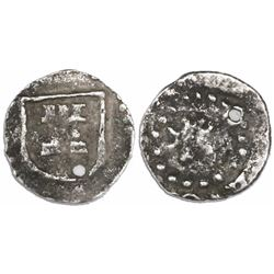 Potosi, Bolivia, cob 1/4 real, Philip III, no assayer or mintmark, small lion, no crown, rare.