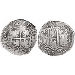 Potosi, Bolivia, cob 8 reales, 1656E, PH at top, dot-8-dot above cross, rare.