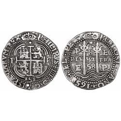 Potosi, Bolivia, cob 8 reales Royal, 1658E, pomegranate (with dots) at top on both sides.