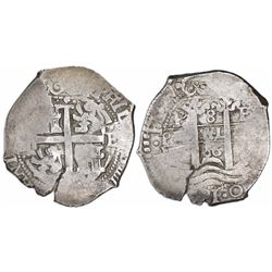 "Potosi, Bolivia, cob 8 reales, 1666E, date as ""66"" between pillars."