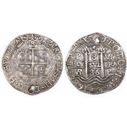 Potosi, Bolivia, cob 8 reales Royal, 1686VR, ex-Huntington.