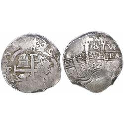 Potosi, Bolivia, cob 8 reales, 1687VR, encapsulated PCGS VF 35.