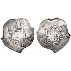 Potosi, Bolivia, cob 8 reales, 1697CH, rare.