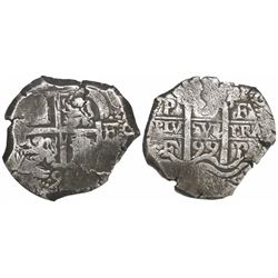 Potosi, Bolivia, cob 8 reales, 1699F, encapsulated NGC VF 35.