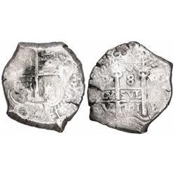 Potosi, Bolivia, cob 8 reales, 1701Y, posthumous Charles II, rare, Calbeto Plate Coin.