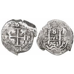 Potosi, Bolivia, cob 8 reales, 1741P, ex-Trastamara.