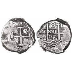 Potosi, Bolivia, cob 8 reales, 1744C, ex-Trastamara.