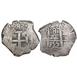 Potosi, Bolivia, cob 8 reales, 1755q, encapsulated NGC XF 45.