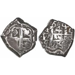Potosi, Bolivia, cob 4 reales, 1754C+q, rare.