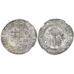 Seville, Spain, 8 reales, Ferdinand-Isabel, assayer Gothic D on reverse, mintmark S to left, denomin