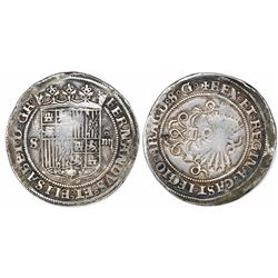 Seville, Spain, 4 reales, Ferdinand-Isabel, no assayer, with legend ending in ARAGO o S o G.